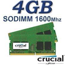 זיכרון למחשב נייד Crucial SODIMM 4GB DDR3L 1600Mhz