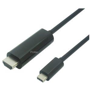כבל מחיבור USB 3.1 Type-C זכר לחיבור HDMI זכר באורך 1.8 מטר PROTEC DM147