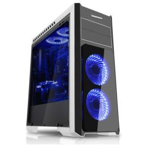 """מארז IPPON THUNDER עשוי זכוכית מחוסמת צבע שחור/לבן עם 5 מאוררי לד כחולים 120מ""""מ"""