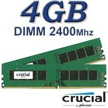 זיכרון למחשב Crucial DIMM 4GB DDR4 2400Mhz