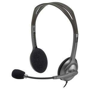 אוזניות + מיקרופון Logitech Stereo Headset H111 בצבע כסוף ושחור