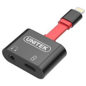 מתאם אייפון Unitek M1103A Lightning Splitter 3.5mm Headphone & Charging